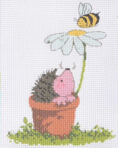 Ежик с цветком вышивка